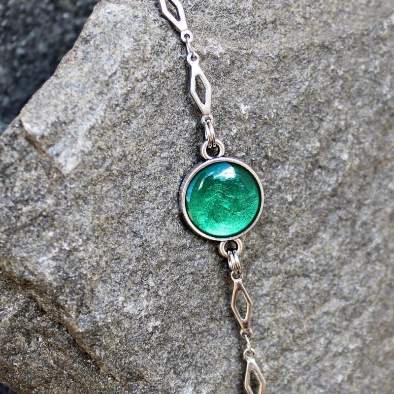 bracelet Jade, vert feuille, émeraude, bijou bohème chic, couleur nature
